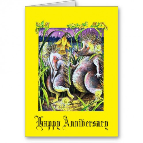 Whether it is a Golden Wedding Anniversary or not, this gold Hedgehog Happy Anniversary Card is different, cute and highly original. Plus you can customize most of our products.