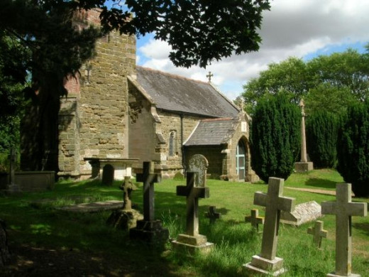 A view of the churchyard at Somersby. The church is opposite the Old Rectory which is Tennyson's birthplace.