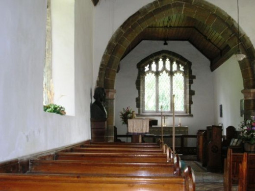 Inside the church at Somersby. At the front left you can see a bust of Alfred Tennyson.