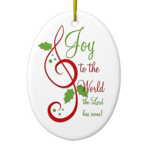 This lovely Joy to the World music Christmas ornament comes in three different shapes.