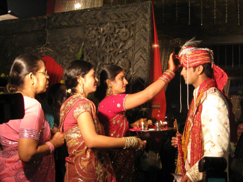 Hindu wedding ritual in progress
