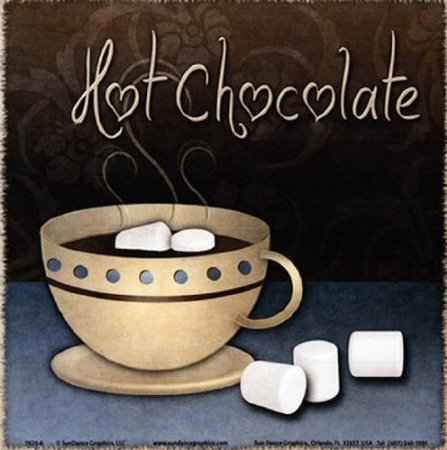 This homely Hot Chocolate poster with earthy chocolate through to slate tones would suit a room with neutral tones
