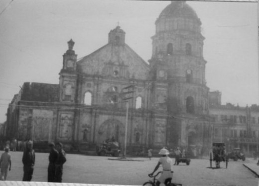 """""""The original building was destroyed in 1762 by British bombardment. A new granite church was completed on the same site in 1852 however it was greatly damaged during WWII, with only the western façade and the octagonal belfry surviving. (Wikipedia)"""