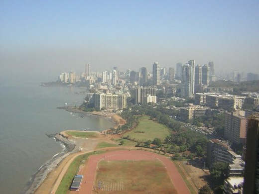 View of the coastline of Mumbai.  Photo by Sajpics distributed under Creative Commons Attribution-Share Alike 2.0 License.