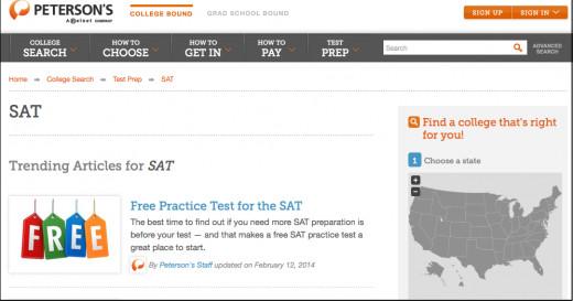 Peterson's College Planner website
