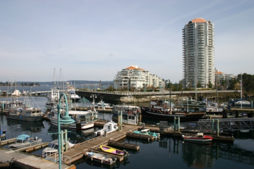 This Cameron Island high-rise complex dominates this harbour view.