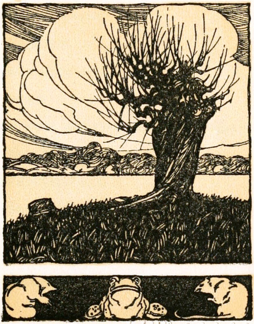 Title piece of Wind in the Willows. 1913.[Public Domain]
