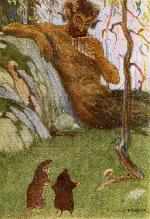 Rat, Mole and the Piper at the Gates of Dawn. 1913.By Bransom, Paul, illustrator, [Public Domain], via Wikimedia Commons