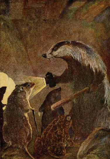 Badger leading Rat, Mole, and Toad to the secret passage. 1913. page 327.By Bransom, Paul, illustrator, [Public Domain], via Wikimedia Commons