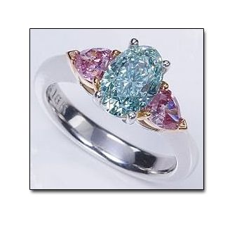 Blue-Green Diamond Ring with Pink Diamond Side Stones