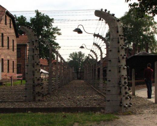 Auschwitz I concentration camp, near Krakow.  Double enclosure.