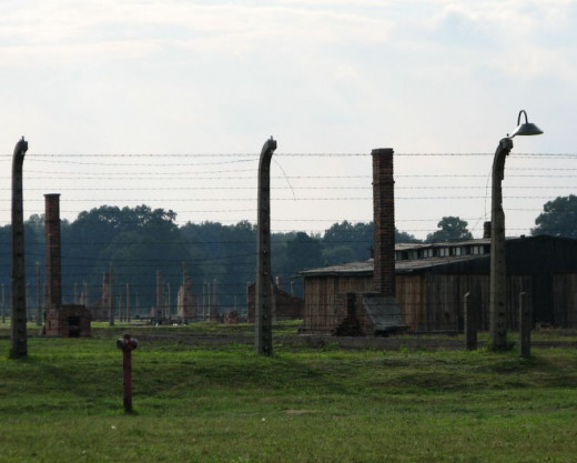 Auschwitz I concentration camp, near Krakow. Remains of buildings.