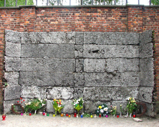 Auschwitz I concentration camp, near Krakow. Area where some prisoners were shot.