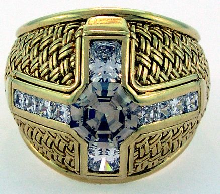 Gent's Natural Brown Diamond Weave Ring