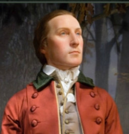 mage is author's picture of wax figure of George Washington at age 19, on display at Mount Vernon.