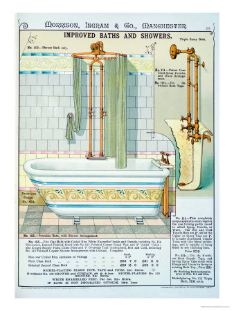 Improved Baths and Showers from a Catalogue of Sanitary Wares Produced by Morrison, Ingram & Co. Poster available from Allposters.com