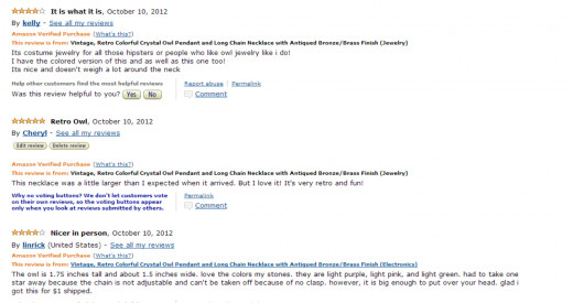 My review on Amazon of the necklace - October 2012