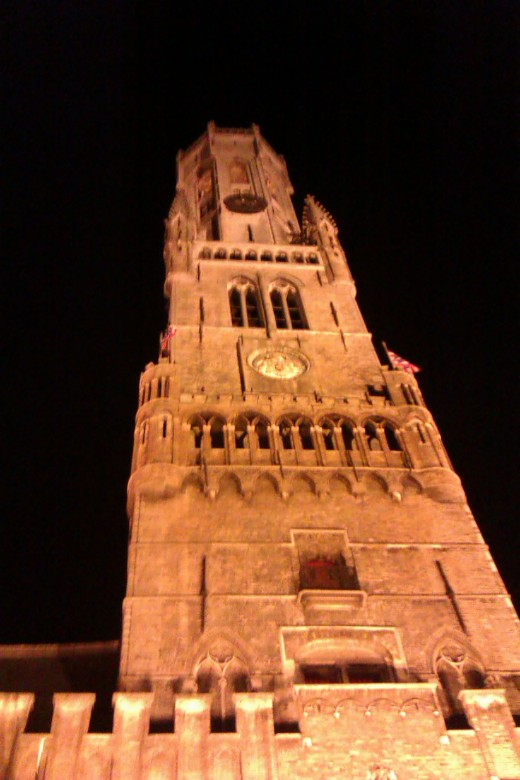 The Belfry's tower seen at night time.