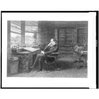 Charles Dickens in his Study (notice desk and chair)