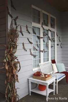 Bats across the porch window. Featured on Front Porch Ideas and More.