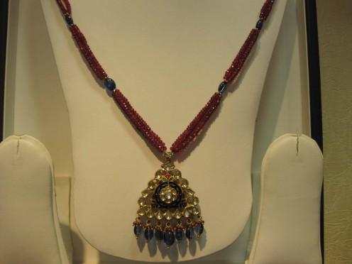 Kundan Meena Jadau Pendant with Spinal beads: Vardhaman Gems