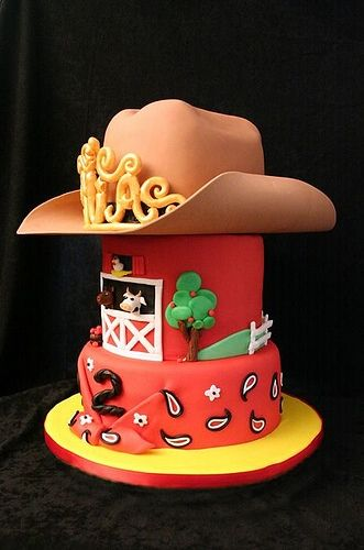 Farm Themed Cake (Crown added to Cowboy Hat for Girl)