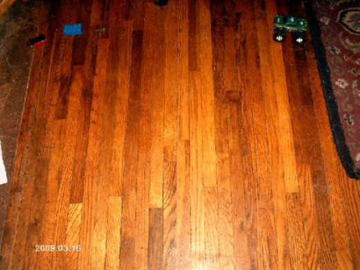 The wood floor.  On the right you can just see a corner of one of our room-size rugs.