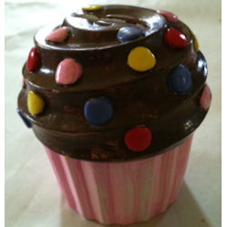 Cupcake with one coat of paint.