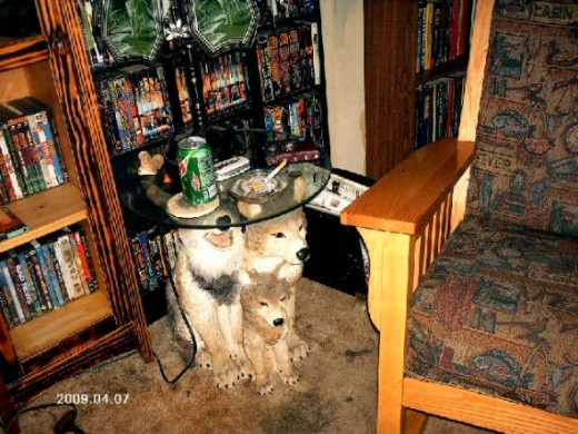 The very cool wolf table and part of the rocking chair.Photo copyright Shari O'Leary