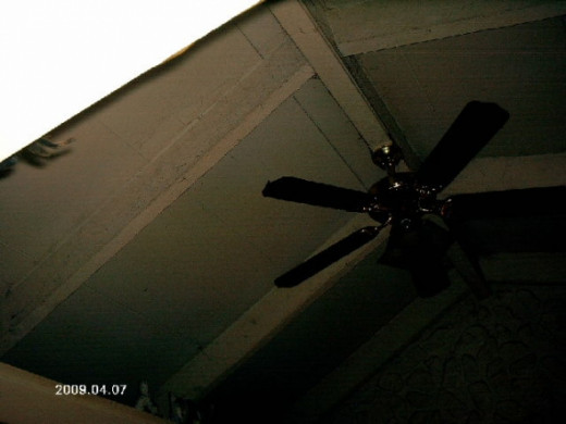 A view of the high ceiling and the ceiling fan my husband installed.Photo copyright Shari O'Leary