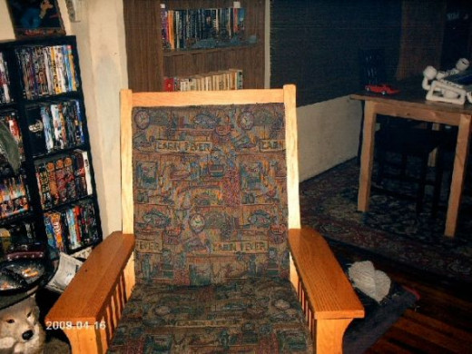The rocking chair.  Pine with a clear finish on it.Photo copyright Shari O'Leary