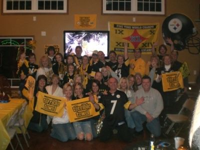 Steeler Party at my brother Steve's Cottage - he built a 2-story cottage just for football games! That's a true Steeler's Fan:)