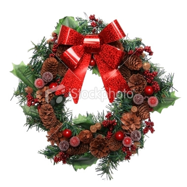 Use some greenery on your wreath frame first and then fill in with pine cones, red berries and a big red bow!