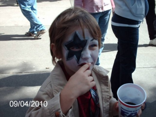 My son with his face paint.  He chose the character he was going to be.