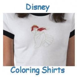 Disney Coloring Shirts - Character Outlines on T-shirts