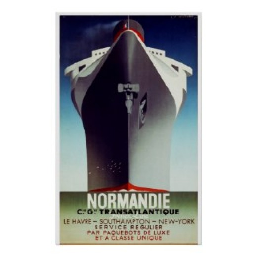 Vintage Travel Poster, showing a bow view of the hull of a Beloved Ocean Liner -  The SS Normandie