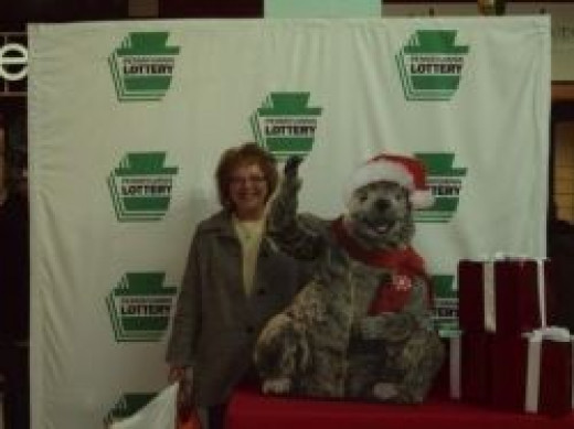 Mys sister with Pa Lottery Mascot, Gus