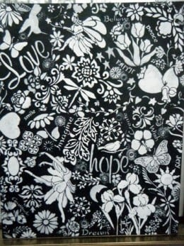 My black and white painting available - $75.00 - contact me at nancy.lewis28@yahoo.com if interested