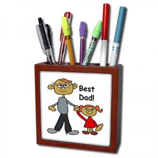 Father Designs - Best Dad Tile Pen Holder