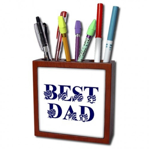 Best Dad with Flag Text Tile Pen Holder