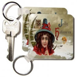 Shown on  3DRose. Under Sandy Mertens Vintage Halloween Designs - Key Chain index page for keychains