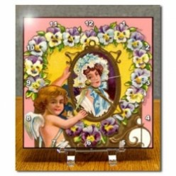 Vintage Valentine Ladies and Cherub Desk Clocks