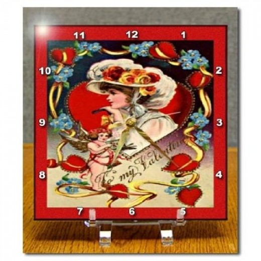 Vintage Victorian Valentine Lady Desk Clock
