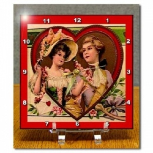 Victorian Couple in Heart Desk Clock