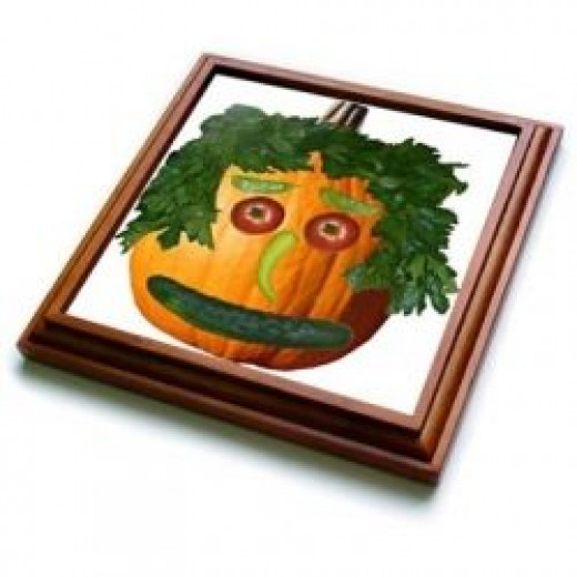 Pumpkin Veggie Face - 8x8 Trivet With 6x6 Ceramic Tile