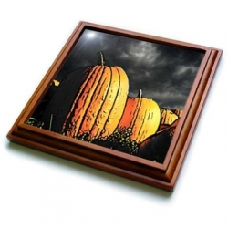 Pumpkin Patch at Night Painting Style Trivet