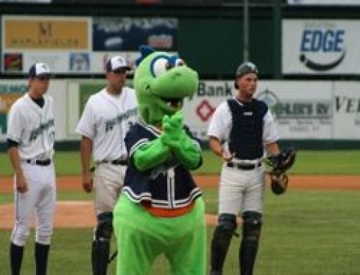 Champ at a Lake Monsters game