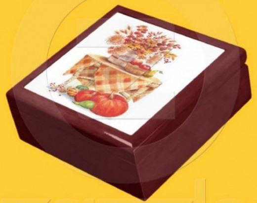 Autumn Decorations on Table Gift Box