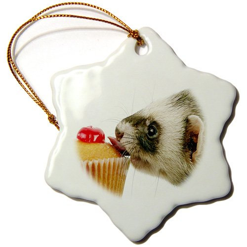 Ferret Eating Cupcake Snowflake Porcelain Ornament