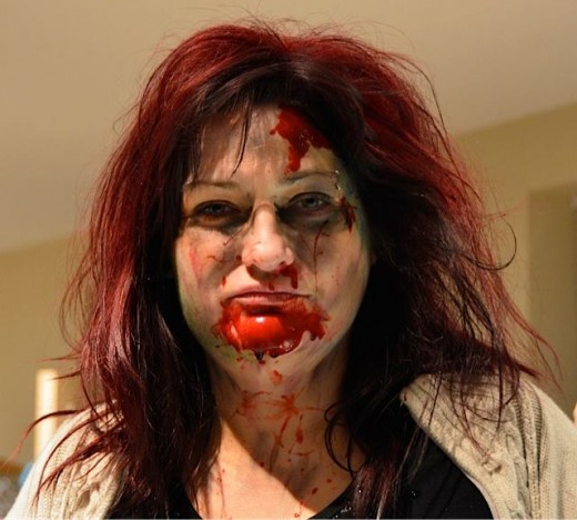 Our volunteer team had tons of fun with makeup to create some great zombie faces.